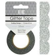 Best Creation Designer Glitter Tape 15mmX5m-Silver Scallop