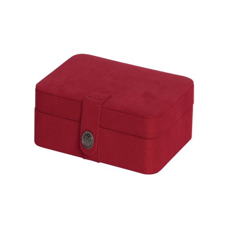 Fabric Jewelry - Mele & Co. Giana Red Plush Fabric Jewelry Box with Lift Out Tray - 7.38W x 2.38H in.