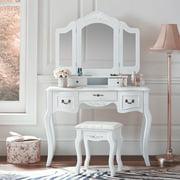 Zimtown Tri Folding White Vanity Makeup Dressing Table Set w/Stool 5 Drawer & Mirror Wood Desk,White