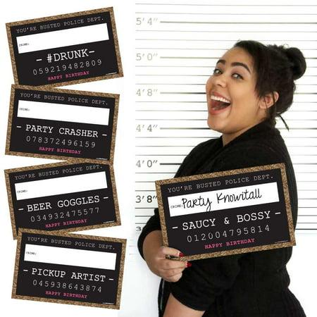 Chic Birthday Party Mug Shots - Photo Booth Props Party Mug Shots - 20 Count](Chica Birthday Party Supplies)