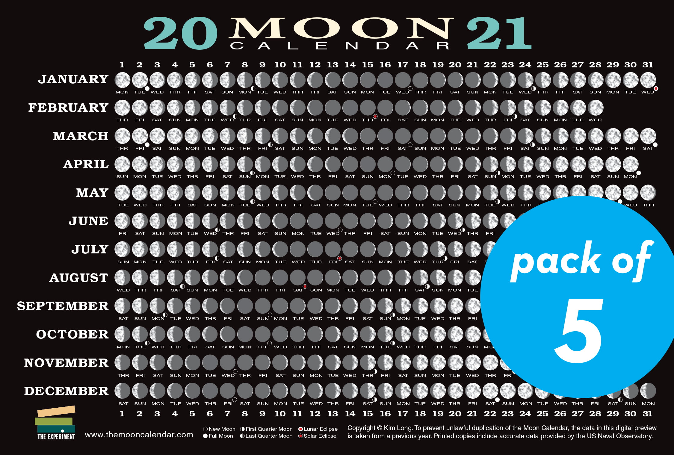 2021 Moon Calendar Card (5 pack) : Lunar Phases, Eclipses ...