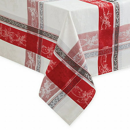 Winter Wonderland Poinsettia Plaid Damask Fabric Tablecloth Table Cloth 52