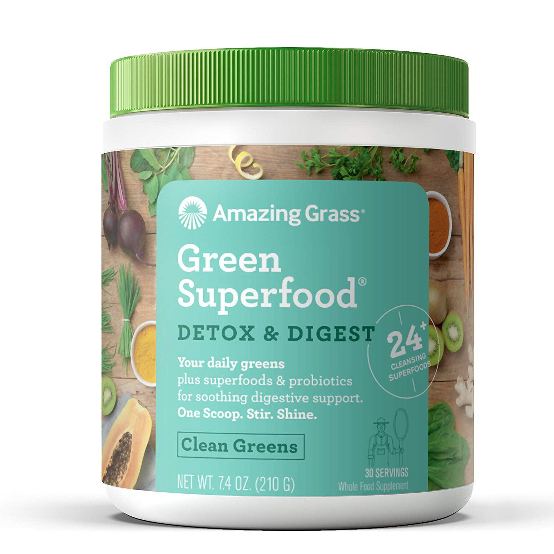 Amazing Grass Detox & Digest Green Superfood Powder, Clean Greens, 30 Servings