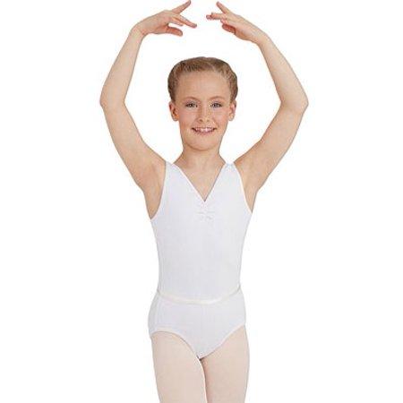 5b6ca3396c6c Girls  Capezio Dance V Neck Pinch Front Leotard with Belt - Walmart.com