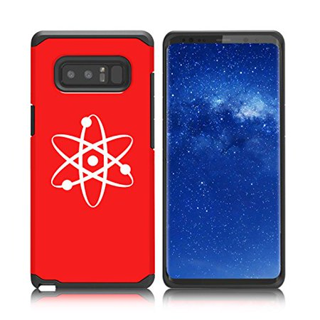 For Samsung Galaxy (Note 8) Shockproof Impact Hard Soft Case Cover Atom Science Atheist (Red)
