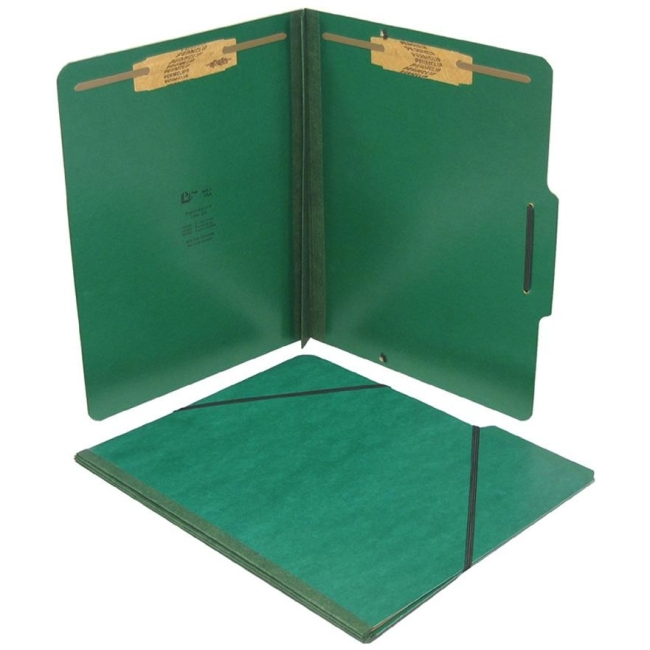 "SJ Paper Pressboard Expansion Folio - Letter - 8 1/2"" x 11"" Sheet Size - 2"" Expansion - 2"" Fastener Capacity for Folder - 25 pt. Folder Thickness - Pressboard - Forest Green - Recycled - 15 / Box"