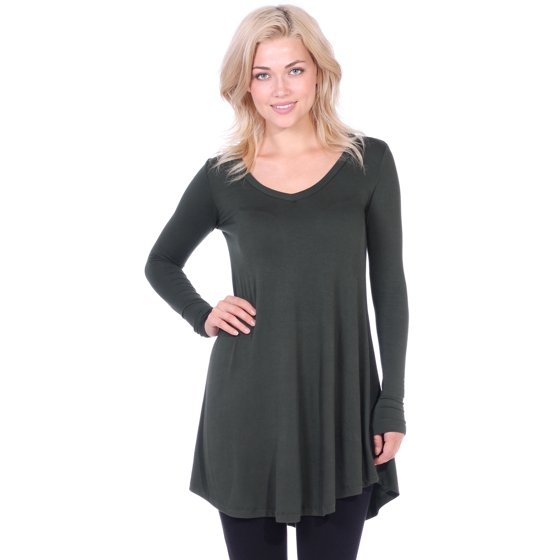 0062bd58e1f TagUnder - Women's Tunic Long Sleeve V-Neck Shirt in Regular and ...