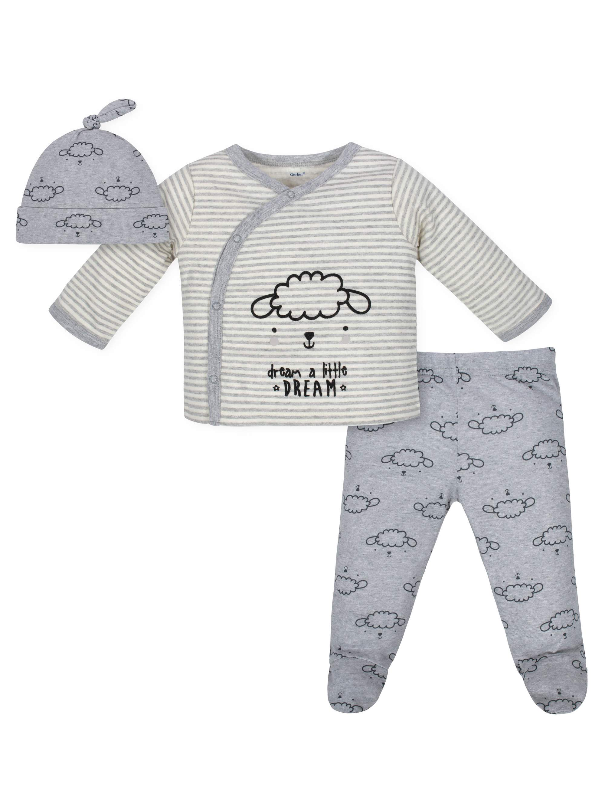 Take Me Home Shirt, Cap and Footed Pant Outfit Set, 3pc (Baby Boys or Baby Girls Unisex)