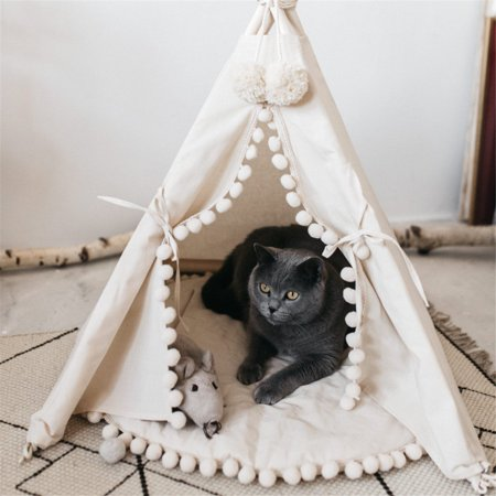 Pet teepee Tent Dog Puppy & Cat Bed - Portable Canvas Pet Tent Indoor Outdoor House With White Floor Mat