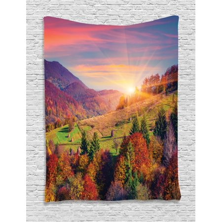 Nature Tapestry, Pastoral Autumn Morning in Mountain Village Fall Tree Surreal Rural Print, Wall Hanging for Bedroom Living Room Dorm Decor, Red Purple Green, by Ambesonne