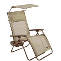 """31"""" Wide XL Deluxe Gravity Free Recliner with Canopy, Pillow & Drink Tray - Sand"""