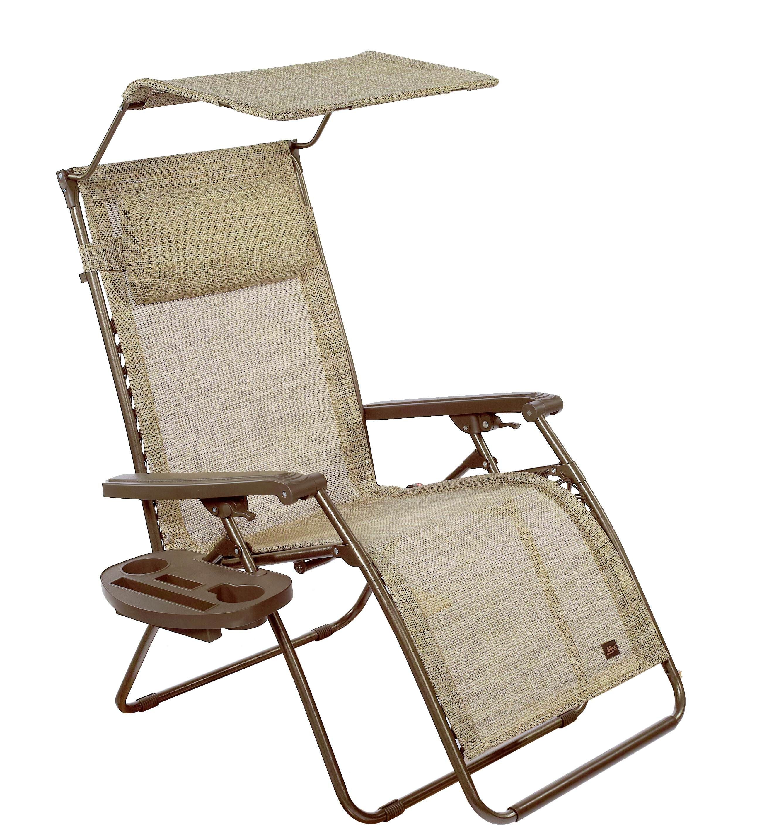 """33"""" Wide XXL Gravity Free Recliner w/ Canopy, Pillow, & Drink Tray - Sand"""