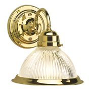 Design House 503011 Millbridge Traditional 1-Light Indoor Dimmable Wall Sconce with Clear Ribbed Glass for Bathroom Hallway Foyer, Polished Brass