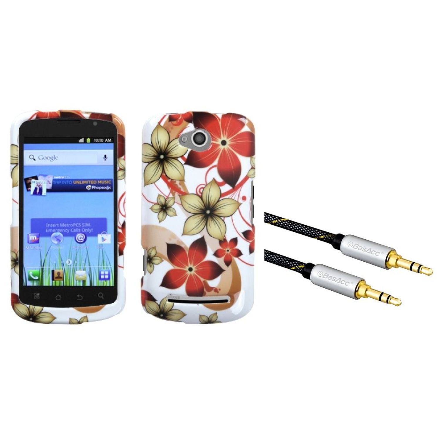 Insten Hibiscus Flower Romance Case for COOLPAD: 5860E (Quattro 4G) (with 3.5mm Audio Extension Cable M/M)