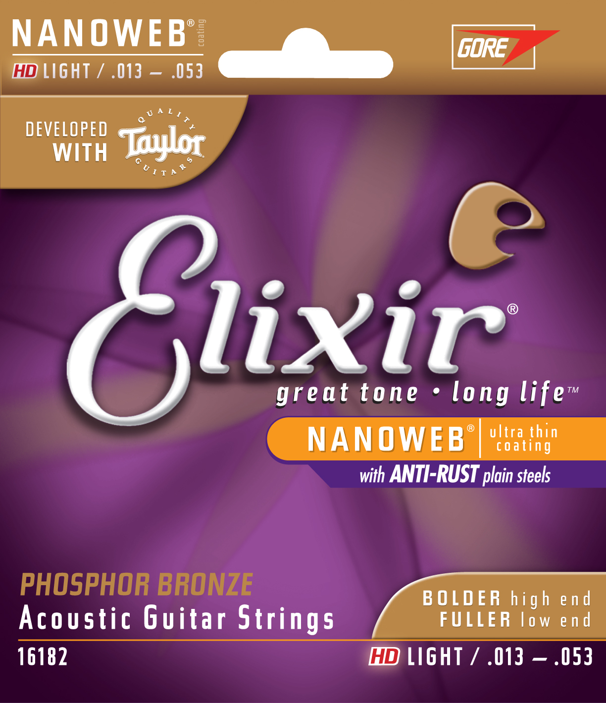 Elixir Nanoweb Phosphor Bronze Hd Light Gauge Acoustic Strings by W.L. Gore