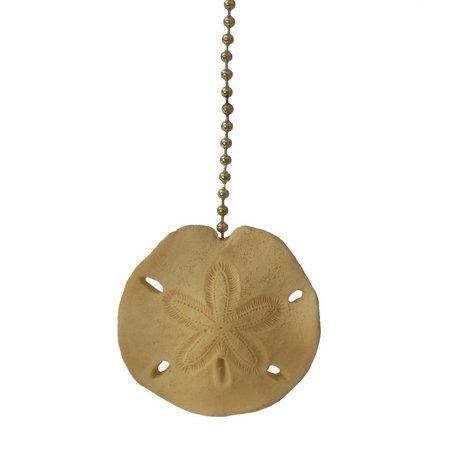 - Beach sea shell SAND DOLLAR ceiling fan Pull light chain, Measures 2 1/4 x 2 1/2 x 1/4 inches, excluding chain By Clementine Designs