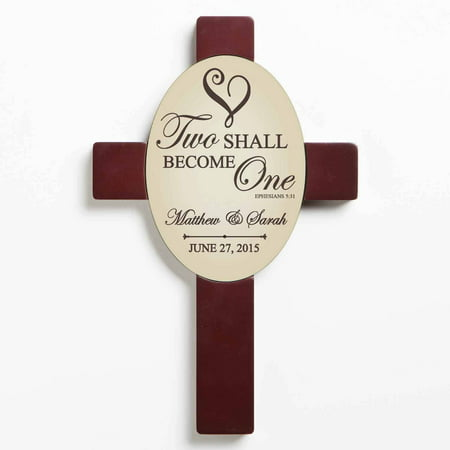 Personalized Two Shall Become One Wall Cross, Beige (Personalized Crosses)