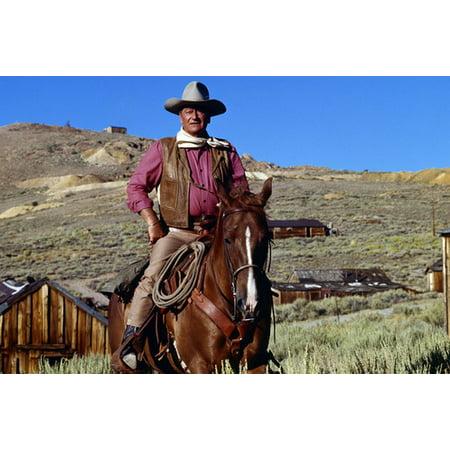 John Wayne in Chisum iconic pose on horseback by western town legend 24x36 Poster - John Wayne Cutout