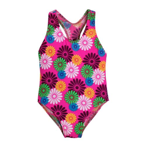 Little Girls Multi Color Daisies Allover Print T Back One Piece Swimsuit 3T