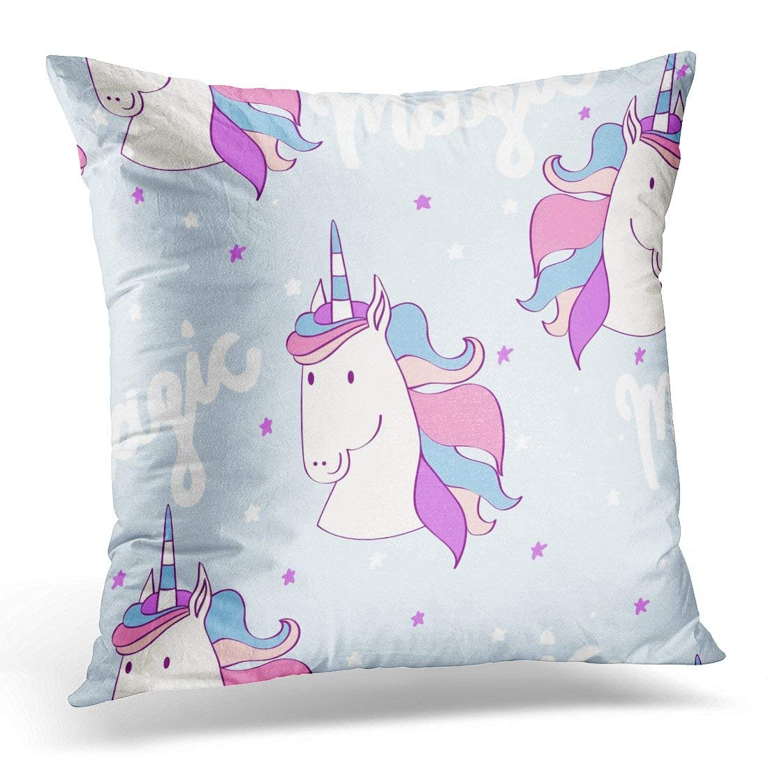 ARHOME Blue Animal Magic Cute Unicorn with Stars Pink Cartoon Pillow Case Pillow Cover 18x18 inch
