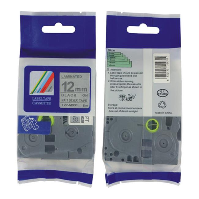 Nextpage TZE-M931 Compatible Brother Laminated Cassette Tape Label  Black On Silver - Pack Of 3