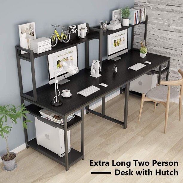 Little Tree Double Workstation Office, Double Desk Home Office With Hutch