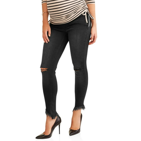 Liz Lange Maternity Over The Belly Skinny Jeans With Rip Details - Pregnant Halloween Painted Bellies