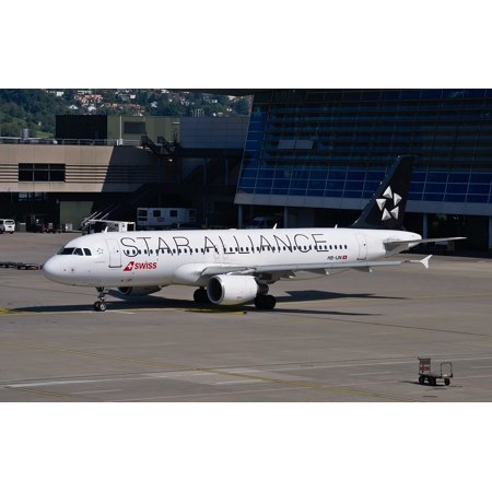 Canvas Print Star Alliance Swiss Airlines Airbus A320 Aircraft Stretched Canvas 10 x 14