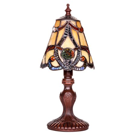 Glass Memorial Gift Lamp -  0 - Mosaic Brown Tiffany Style Stained Glass Brandi - Engraving Sold Separately - Memorial Glass