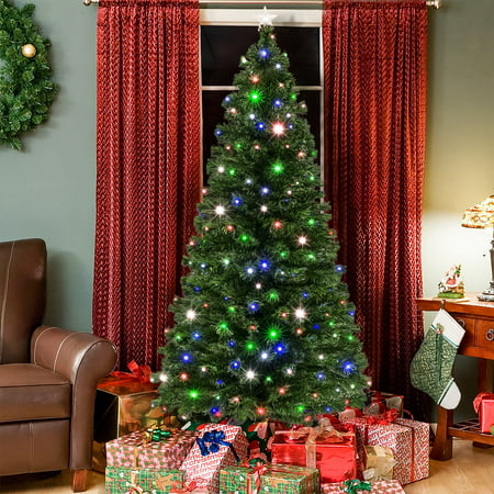 Best Choice Products 7ft Pre-Lit Fiber Optic Artificial Christmas Pine Tree w/ 280 Lights, 8 Sequences, Stand ()