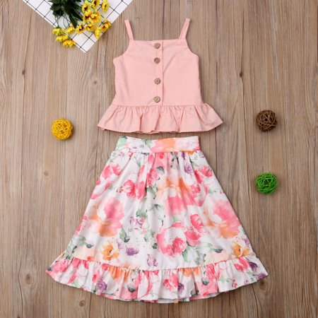 2Pcs Toddler Kids Girl Summer Clothes Ruffle Tops Crop+ Floral Maxi Skirt Overall Outfits Set