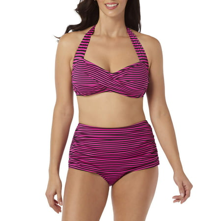 Simply Slim Womens Two-Piece Sheath Swimsuit Set