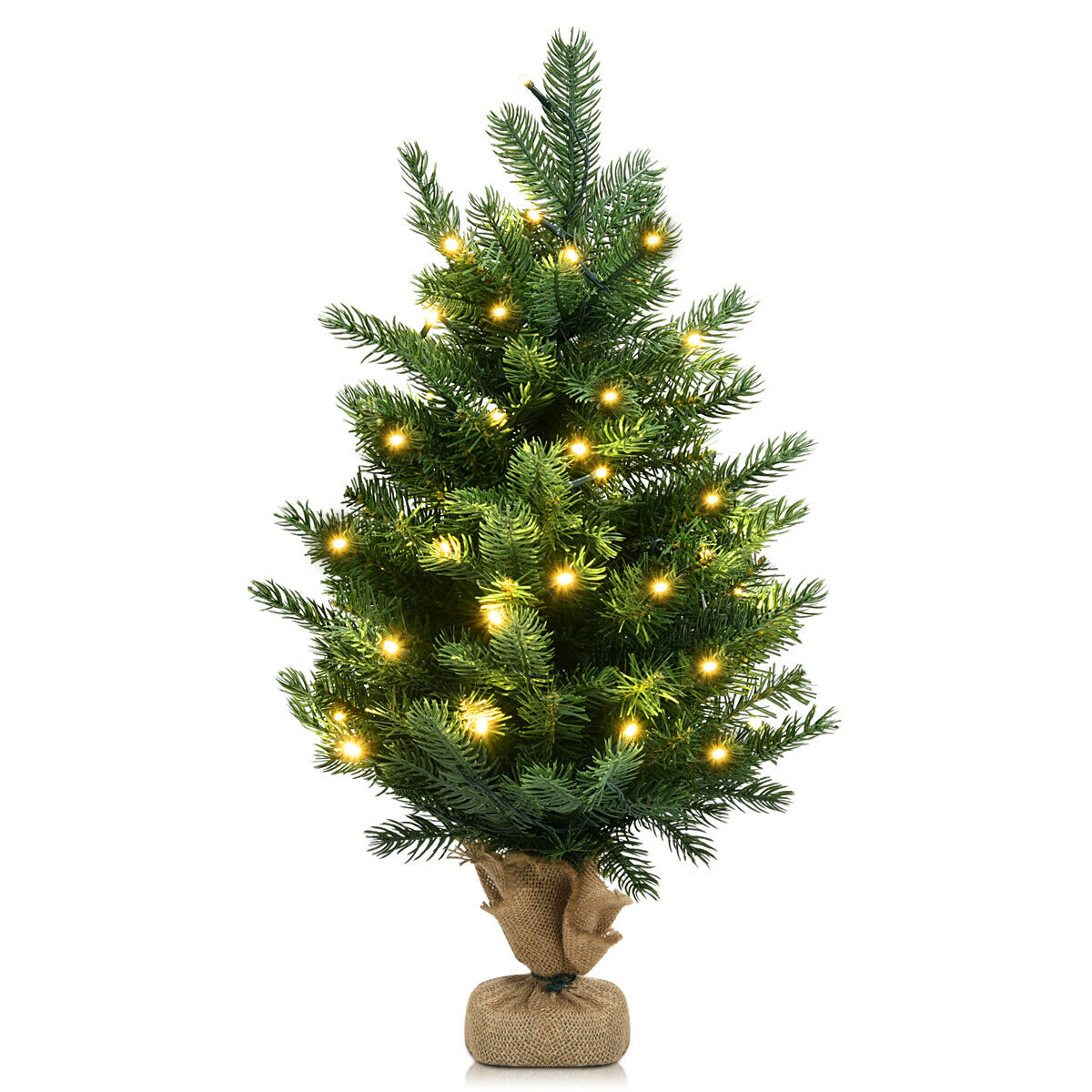 "Gymax 24"" Mini Artificial Christmas Tree Tabletop Pre-Lit ..."