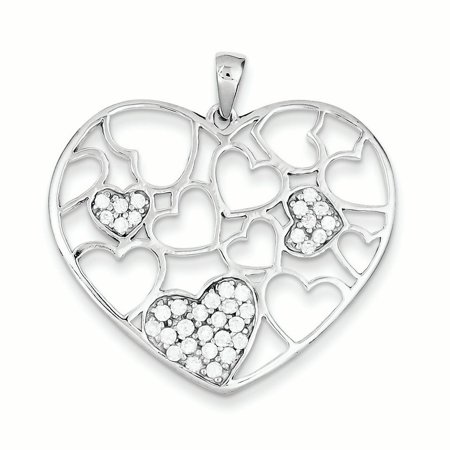 Sterling Silver Polished & CZ Hearts Pendant QP2071 (35mm x 35mm) - image 2 de 2