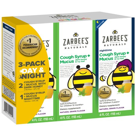 Cough Relief Syrup - Zarbee's® Naturals 3 Pack Day & Night Cough Syrup + Mucus with Dark Honey & Ivy Leaf Extract 3–4 fl. oz Bottle