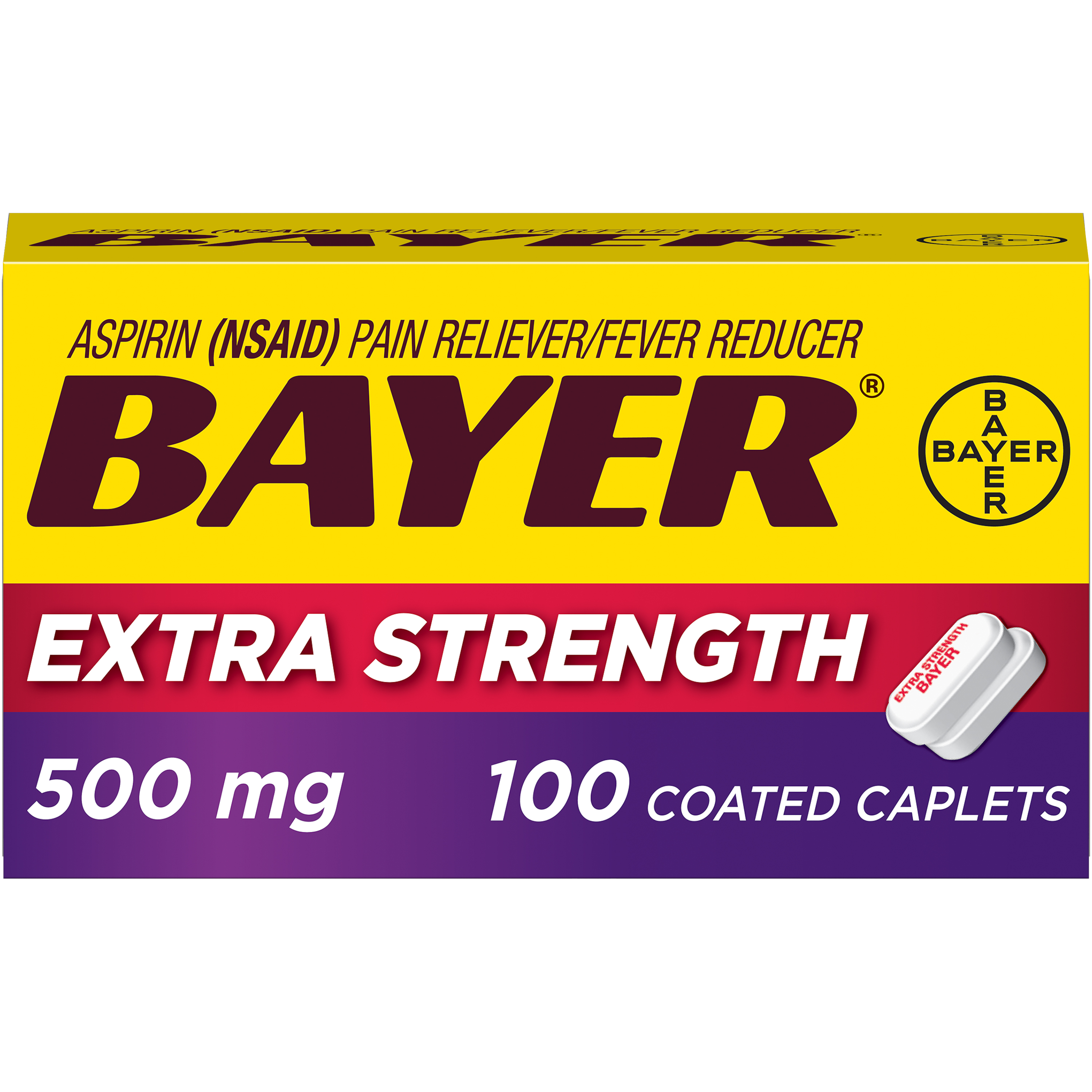 Bayer Extra Strength Pain Reliever Aspirin, 500mg Coated Tablets, 100 Ct
