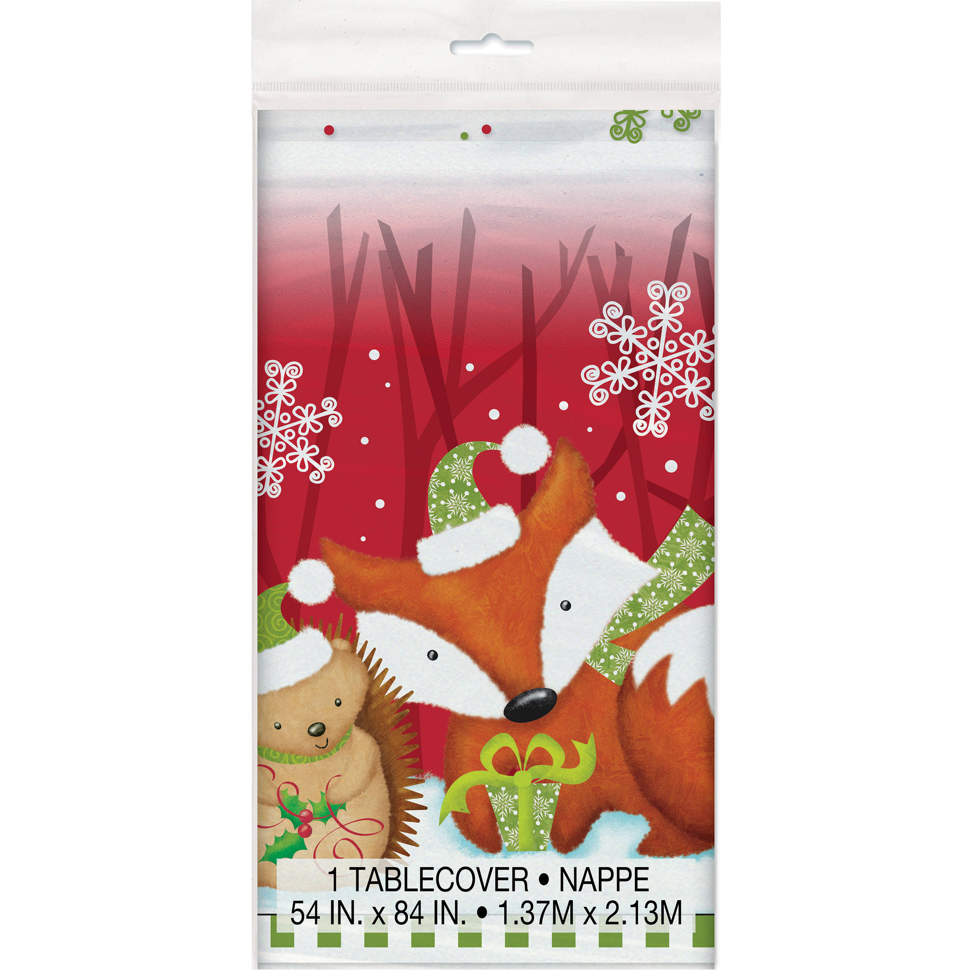 "Plastic Woodland Christmas Table Cover, 84"" x 54"""