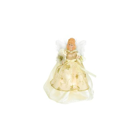 Ivory and Gold Angel with Poinsettia Christmas Tree Topper ...