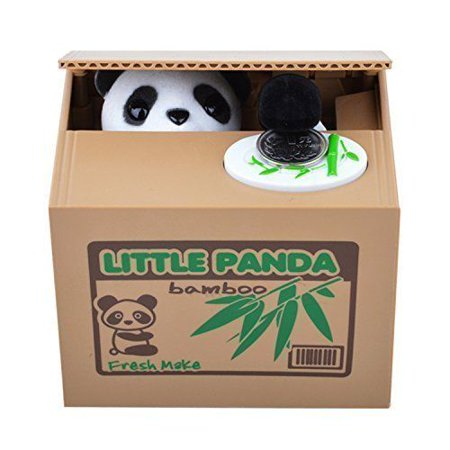 Saving Coin Bank Piggy Bank Funny Panda Stealing Money to Bamboo Box Toy Gift