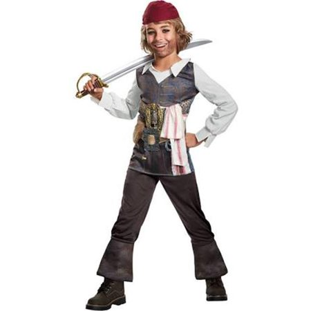 Pirate of the Caribbean Boys Captain Jack Sparrow Costume, Multi Color - Size 7-8