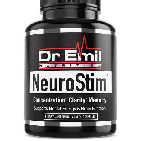 Dr. Emil NeuroStim - Nootropic Brain Supplement for Memory, Focus, Clarity & Concentration with Huperzine A, DMAE, Phosphatidylserine & Glutamic Acid (60 Veggie