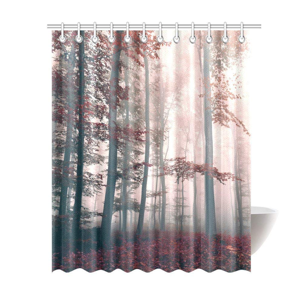 GCKG Red Mystic Forest Mystical Charcoal Foggy Country Decor, Mystic Forest Trees and Leaves Red Grass Modern Art Flower Rainy Foggy Gray Scene Fabric Shower Curtain 66x72 Inches - image 2 of 2