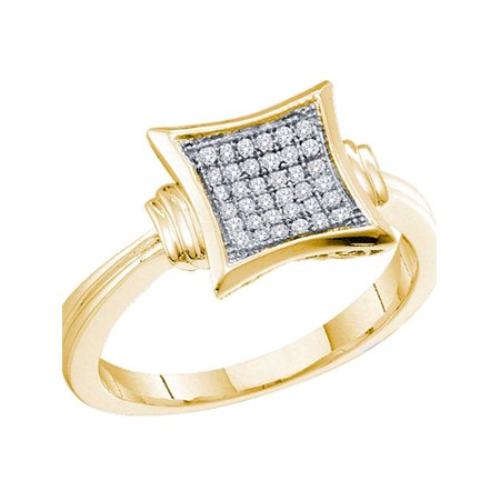 10kt Yellow Gold Womens Diamond Square Cluster Ring 1/10 Cttw