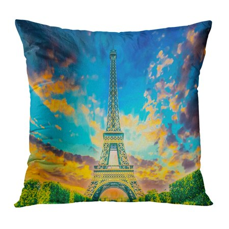 ECCOT Blue the Eiffel Tower New 7 Wonders of World La Tour in French Paris France Iconic Parisian and Best City Pillowcase Pillow Cover Cushion Case 16x16 (Best Smelling City In The World)