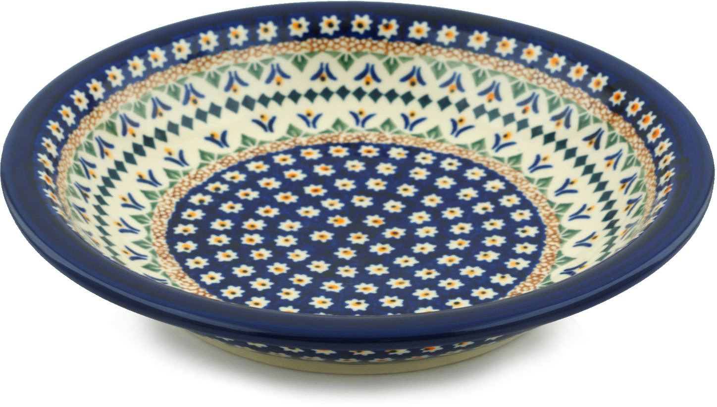 Polish Pottery 9-inch Pasta Bowl (Floral Peacock Theme) Signature UNIKAT Hand Painted in Boleslawiec, Poland +... by Zaklady Ceramiczne