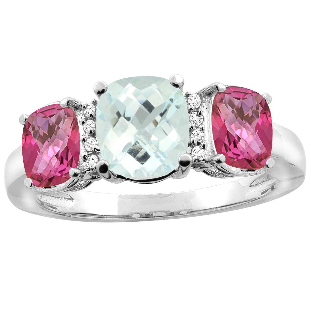 14K White Gold Natural Aquamarine & Pink Topaz 3-stone Ring Cushion 8x6mm Diamond Accent, sizes 5 10 by WorldJewels