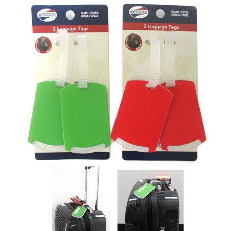 AllTopBargains 4 Pc Travel Luggage Tags Gorilla Touch Heavy Duty Straps Tag Packaging Bag ID