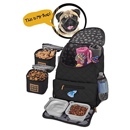 Dog Travel Bag Deluxe Quilted Weekender Backpack Includes Lined Food Carriers And Collapsible Bowls