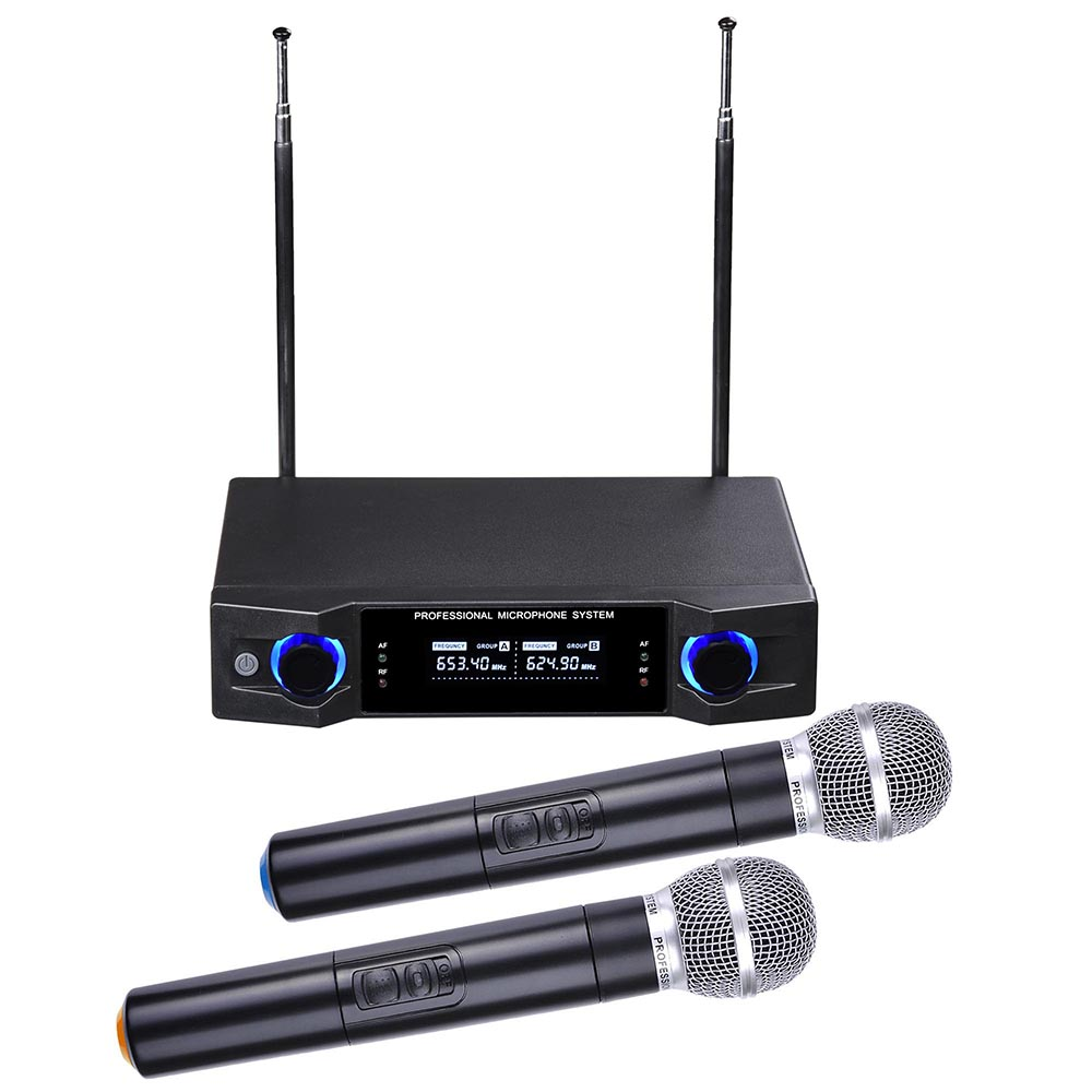 "2 Channel UHF Handheld Wireless Microphone System LCD Display 1/4""Audio Cable Show Party Singer"