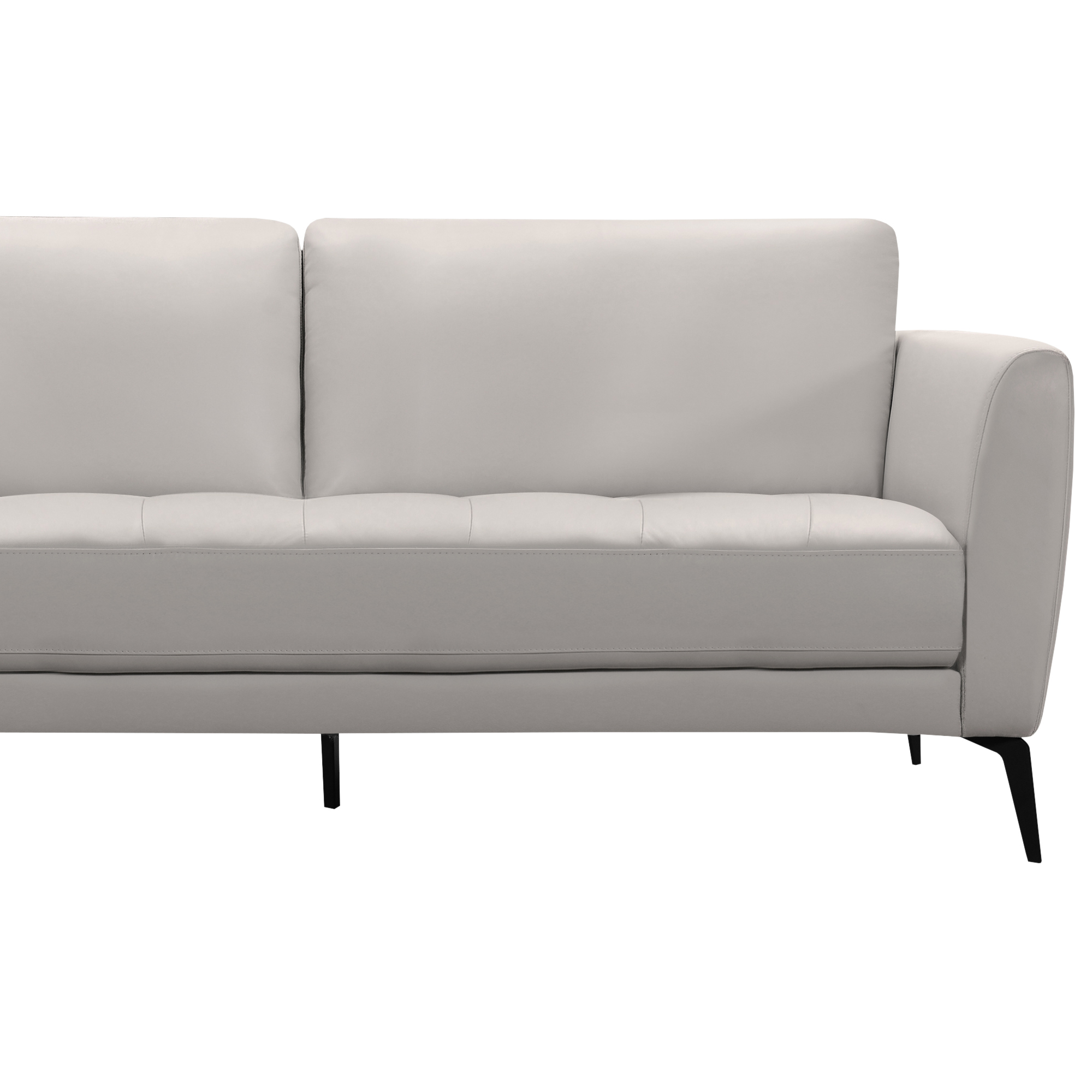 Armen Living Hope Contemporary Sofa in Genuine Dove Grey Leather ...